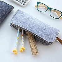Tiptiper Multifunctional Felt Pencil Bag Pen Glasses Cosmetic Makeup Storage Case Zipper Pouch Stationery School Suppl