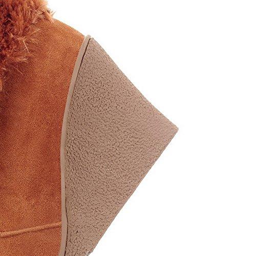 AgooLar Damen Ziehen Auf Hoher Absatz Rein Kette Stiefel Braun