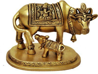 Two Moustaches Brass Holy Kamdhenu Cow and Calf Sculpture | Home Decor |