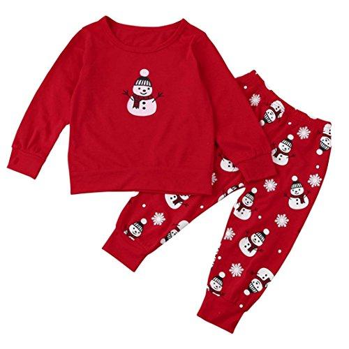 Und Ideen Baby Mädchen Kostüm Mama (YunYoud Baby Outfits Set Mädchen Junge Weihnachten Bekleidung O-Ausschnitt Lange Ärmel Tops Mode Niedlich Hemd + Schneemann Drucken Hose (90,)