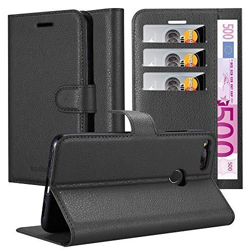 Cadorabo Hülle für ZTE Nubia Z17 Mini - Hülle in Phantom SCHWARZ - Handyhülle mit Kartenfach & Standfunktion - Case Cover Schutzhülle Etui Tasche Book Klapp Style