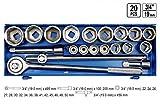 Steckschlüsselsatz 20 Tlg. LKW Ratschenkasten 22-50 3/4'