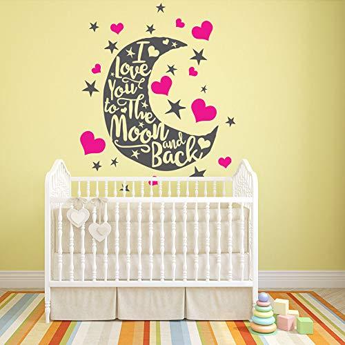 jiuyaomai Wandtattoo Abnehmbare Zitate Ich Liebe Dich zum Mond und zurück Kids Art Vinyl Decor KinderzimmerWandaufkleberWandbild78x100cm