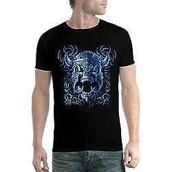 avocadoWEAR Vikingo Casco Guerra Cráneo Batalla Hombre Camiseta Negro XL