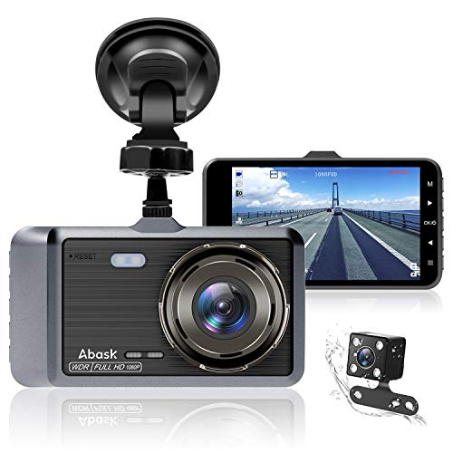Dash Cam, Abask Dash Cams for Cars Front and Rear with Night Vision 1080P Full HD, 4 Inches Dash Camera with WDR 170° Wide Angle 6 Lens, Loop Recording, G-sensor, Parking Monitor, Motion Detection