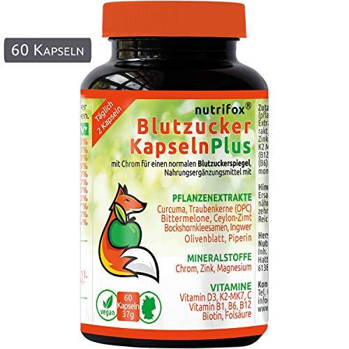 Nutrifox 60 Blutzucker Kapseln - Pflanzenextrakte - Blutzucker senken