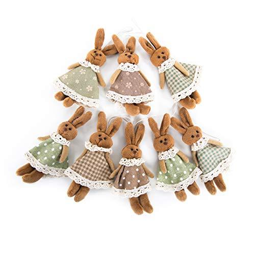 Logbuch-verlag - 8 piccoli coniglietti di stoffa a forma di coniglietto pasquale con cordino da appendere, decorazione pasquale a quadretti, colore: marrone/verde