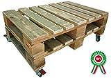 Tavolo basso in legno da caffè fabbricato con pallet bancali pedane e ruote autobloccanti per salotto giardino casa taverna
