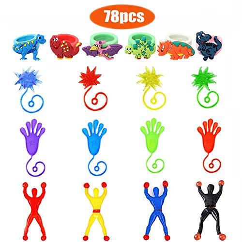 78 Piezas Elástico Juguete de Mano Pegajoso, 24 Sticky Manos, 24 Martillos Pegajosos,24 Escaladores de Pared,6 Dinosaurio Anillo Cumpleaños Infantiles, Artículos Fiesta (Color Aleatorio)