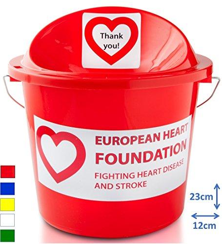 Eimer für Spendenaktion mit Schlitz und Drehverschluss (Sicherheitsdeckel), Sammelaktionen auf der Straße, Sammeln am Kircheneingang, bei Sportveranstaltungen, Gelb rot