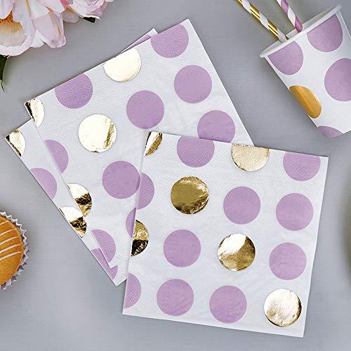 Premium Weddings Papierservietten Punkte lila Gold 33 x 33 cm 16 Stück - Hochzeitsservietten Hochzeit Servietten Baby Shower Babyparty Kindergeburtstag Dots lila Gold (Weiße Lila Und Wedding)