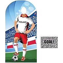 BundleZ-4-FanZ by Starstills Fan Pack - World Cup Football 2018 Poland Stand-In Lifesize Adult Cardboard Cutout with 20cm x 25cm Star Photo