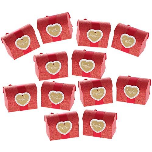 FLAMEER 12stk. Multifunktion Pappbox Pappschachtel Pappe Karton Aufbewahrungsbox für Gastgeschenk Snacks und Dessert, ca. 5 x 5 x 5,5 cm - Rot