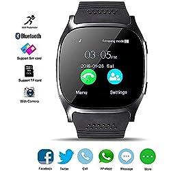 Bluetooth Smart Watch, KeepGoo Reloj Inteligente de pulsera con Cámara Reproductor de música Facebook WhatsApp Sync SMS Smartwatch Soporte SIM TF tarjeta para para el iPhone 7 8 7 Plus 6 Samsung S8 y otros teléfonos inteligentes Android o iOS (Negro)