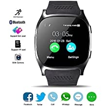 Bluetooth Smart Watch, DXABLE Reloj de pulsera con Cámara Reproductor de música Facebook WhatsApp Sync SMS Smartwatch Soporte SIM TF tarjeta para para el iPhone 7 8 7 Plus 6 Samsung S8 y otros teléfonos inteligentes Android o iOS (Negro)