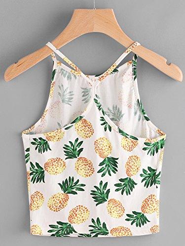 Minetom Femmes Sans Manches Débardeur Femme Tops Gilet Vest T-Shirt Blouse Hawaii Ananas Imprimé Cool Été Caraco Sexy Mode Multicolore