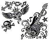 Unbekannt 11 tlg. Set XL Wandtattoo / Fensterbild / Sticker - Gitarre Musik Rockabilly - Wandsticker Aufkleber - E-Gitarre Musiker Sänger - Rockstar