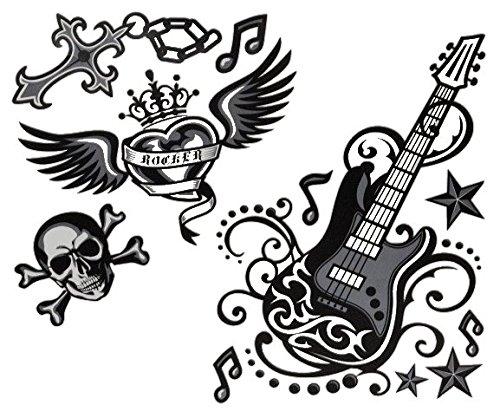 11 tlg. Set XL Wandtattoo / Fensterbild / Sticker - Gitarre Musik Rockabilly - Wandsticker Aufkleber - E-Gitarre Musiker Sänger - Rockstar (Gitarre Bilder Für Kinder)