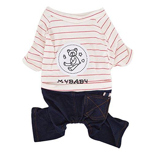 Meliya Pet Hund Winter Warm Kleidung Soft Cotton Stripe Vier Füße Kleidungsstücke Teddy Bär bedruckt Coat Shirt für Spring Summer (Stripe Bar Shirt)