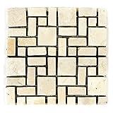 Divero Marmor Naturstein-Mosaik Fliesen für Wand Boden römischer Verbund creme 11 Matten 30 x 30cm