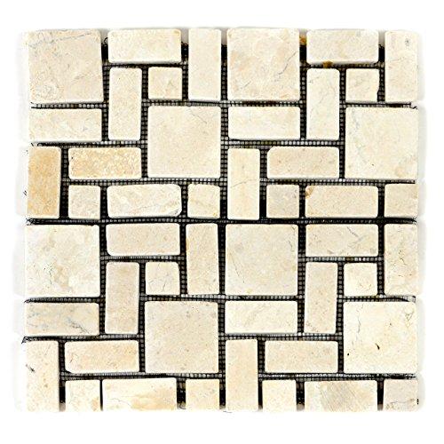 Getrommelt Marmor Mosaik 1x1 (DIVERO Marmor Naturstein-Mosaik Fliesen für Wand Boden römischer Verbund creme 11 Matten 30 x 30cm)