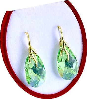 Crystals & Stones BAP/39 Almond *Perdiot AB* - Pendientes Plata 925 Mujer Pendientes con Cristales de Swarovski Elements - Fantástica Pendientes con caja de regalo