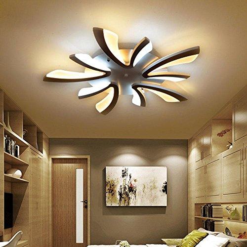 36W LED Modern Deckenleuchte Elegante Wohnzimmer Schlafzimmer Deckenlampe  Romantische Warm 5 Flammig Deckenbeleuchtung Schwarz Acryl Lampenschirm  D70cm Zwei ...