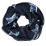 Soul-cats® Ein Kinder Loopschal Tuch große Sterne grau marine weiß, Farbe:dunkelblau
