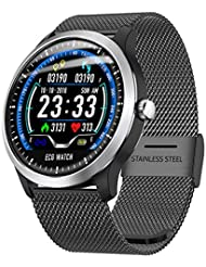 N58 Smartwatch Fitness Bracelet 1.22 Inch Pulse Monitor Tracker IP67 Waterproof ECG Measurement Sleep Monitor Calorie Counter GPS Sports Fitness Tracker for Men and Women with iOS Android