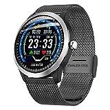 Fulltime E-Gadget Intelligente Uhr 1,22-Zoll-EKG-Anzeige Blutdruck-Herzfrequenzmonitor 3D-UI-Tracker IP67 Wasserdicht Smart Watch (Schwarz)