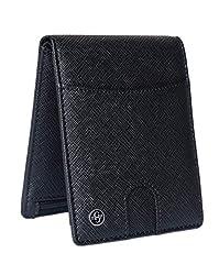 Idea Regalo - Gold Priority Luxury Wallet Portafoglio Uomo Pelle Saffiano Elegante Nero Lusso Portafoglio RFID Portamonete Porta Tessere Banconote Sottile