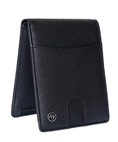 Gold Priority Luxury Wallet Portafoglio Uomo Pelle Saffiano Elegante Nero Lusso Portafoglio RFID Portamonete Porta Tessere Banconote Sottile