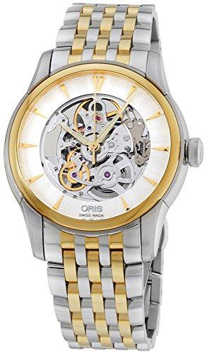 Oris Artelier Skeleton Automatic Steel & Gold Tone Mens Watch 734-7670-4351-MB