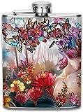 Flachmann aus Edelstahl, ca. 200 ml (ohne Trichter), Kunstblume, Schmetterling, Mädchen