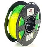 Filament pour imprimante 3D AIO Robotics Premium, PLA avec changement de couleur avec changement de température, bobine de 0,5 kg, précision +/- 0,02 mm, diamètre 1,75 mm, jaune/vert