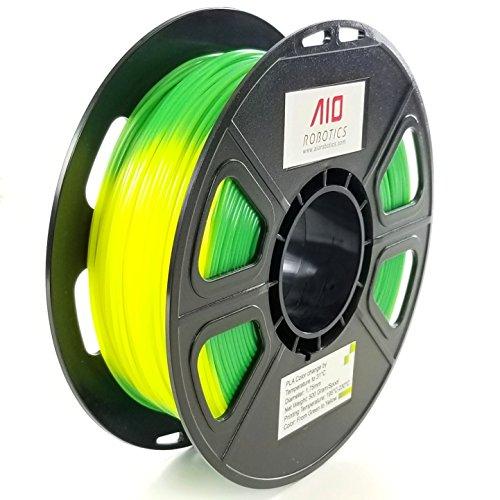 Filamento AIO Robotics Premium para impresoras 3D, PLA con cambio de color con cambio de temperatura, 0,5 kg PLA, Diámetro 1,75 mm, Amarillo / verde