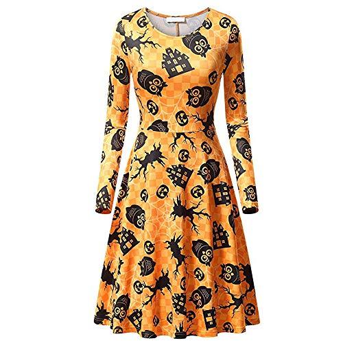 Fresofy Damen Happy Halloween Frauen Langarm O Hals Druck Vintage Kleid Party Clubbing Karneval...