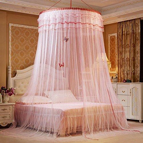 Kuppel hängenden betthimmel , Home Europäische Hängen Gericht Runde Prinzessin Bett vorhänge Baldachin doppelbett -Rosa Queen2