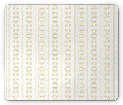 Drempad Gaming Mauspads, Ivory Mouse Pad, Medieval Flowers Lines and Swirled Dots Abstract Antique Motifs Timeless Art Design, Standard Size Rectangle Non-Slip Rubber Mousepad, Beige White (Playstation 2 Medieval)