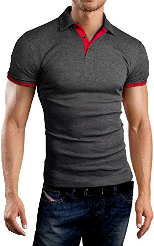 Grin&Bear Slim Fit Kontrast Polohemd Poloshirt Polo, Anthrazit-Rot, L, GB160