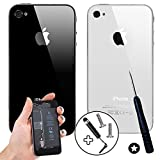 Wholesale Solutions - Genuine Glass Replacement Back for Apple iPhone 4 4S Rear Battery Cover (4, Black)