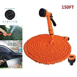 qianchuangyuan Manguera de Jardín Extensible hasta 3 Veces Flexible 7 en 1 con La Presión del Agua Pistola de Pulverización Peso Ligero Retractil 25FT Naranja
