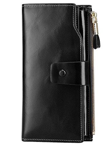 PARVENZA Damen Geldbörse RFID Schutz Portemonnaie Wachs Echtes Leder Geldtasche Schwarz PVZ0702B