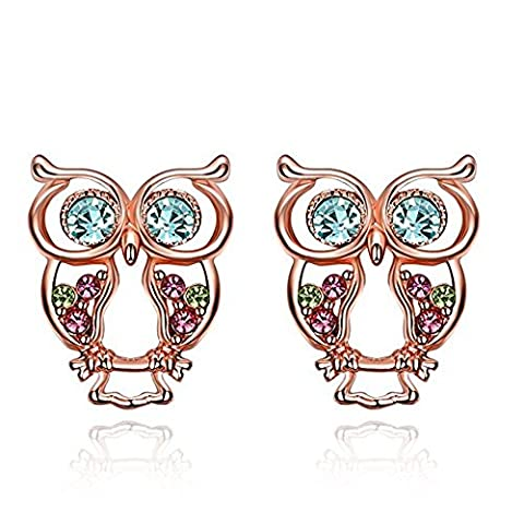 Rose Gold Plated Colorful Czechic Diamond Owl Stud Earrings for Women, Girls