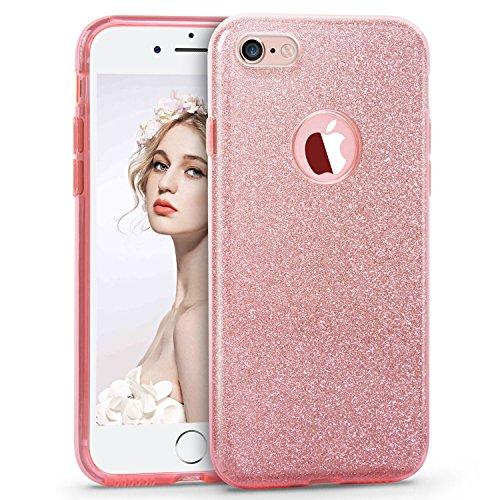 iPhone 6S 6 Hülle(4,7 Zoll), Imikoko® Glitzer Schutzhülle [Weiche TPU Abdeckung + Glitzer Papier + PP innere Schicht] [Drei in Einem] Hülle für iPhone 6 6S (Rosegold, 4.7