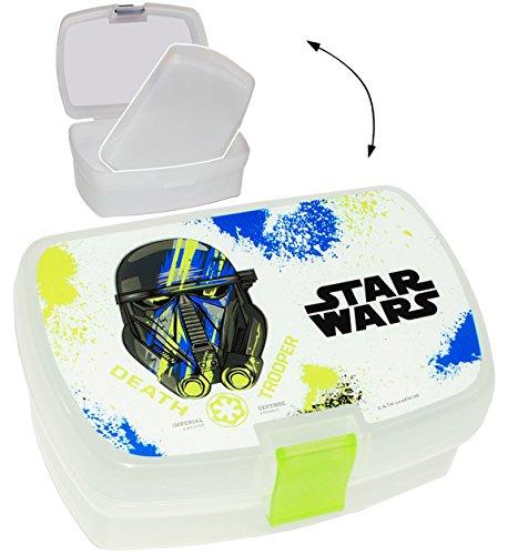 """Lunchbox / Brotdose - """" Star Wars - Stormtrooper / Kylo Ren """" - mit extra Einsatz / herausnehmbaren Fach - Brotbüchse Küche Essen - für Mädchen & Jungen - Kinder Vesperdose - Brotzeitdose / Trennwand - Fächern - Krieg Sterne / Darth Vader - Clone - Luke Skywalker - Dose Box leicht transparent / Einlagefach - Einlegefach - Frühstücksbox"""