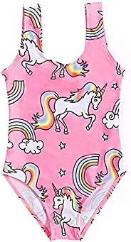 Toddler/Girls Unicorn One Piece Swimsuit Halter Bathing Suit Beach Thick Strap Swimwear for Girls 2-6T