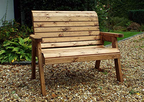 Charles Taylor Trading Hand Made Traditional 2 Seater Chunky Rustic Wooden Garden Bench Furniture