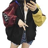 Frauen Art und Weise kühlen Langarm-Kapuzenshirt Hit Farbe Panelled lose beiläufige Baseball-Jacke