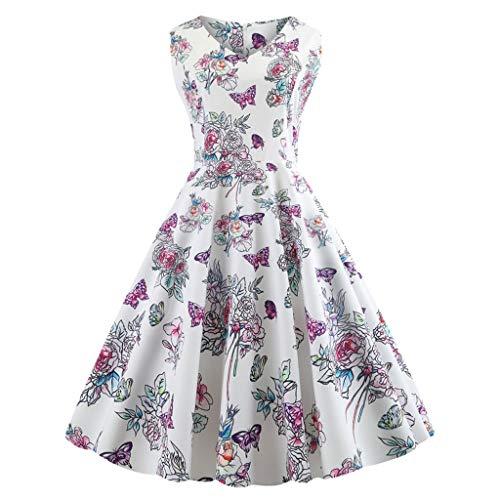 Qinsling donna vestiti,swing vestito elegante audrey hepburn vintage 1950s casuale mini abito da sera per cocktail partito danza matrimonio stampa senza maniche (s/m/l/xl / 2xl)